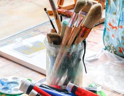 Kunst udstilling i skolens lokaler