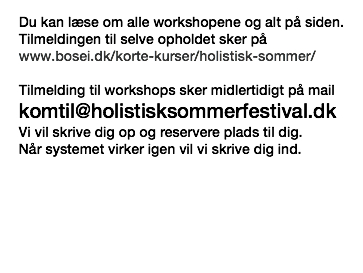 Tilmelding til workshops sker midlertidigt på mail:  komtil@holistisksommerfestival.dk